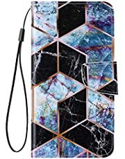 URFEDA Compatibel met Huawei P40 Pro, leren telefoonhoes, portefeuille, beschermhoes met bont patroon, fliphoes, standfunctie, kaartenvak, magneetsluiting, leren hoes, klaphoes, zwart marmer