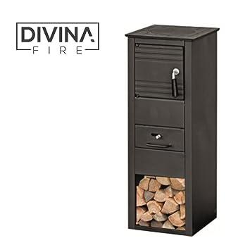 Divina Fire estufa a leña 5 - 7 KW acero negro Calefacción Casa Habitaciones df51948: Amazon.es: Hogar