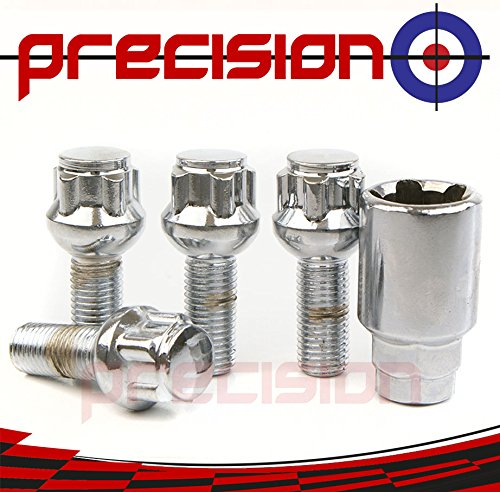 Black Chrome Locking Bolts for ṾW Ṿolkswagen Caddy with Aftermarket Alloy Wheels Part No.B14B141