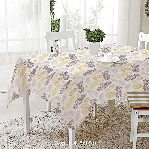 AmaUncle Party Decorations Tablecloth Pine Fruits Ananas Healthy Diet Ornamental Fabric Design Pattern Artful Table Protectors for Family Dinners (W55 xL72)]()