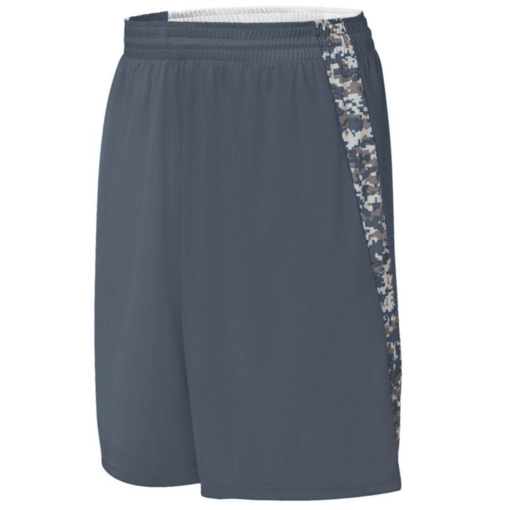 Augusta Activewear Hook Shot Reversible Short, Graphite/White Digi, Small by Augusta Activewear