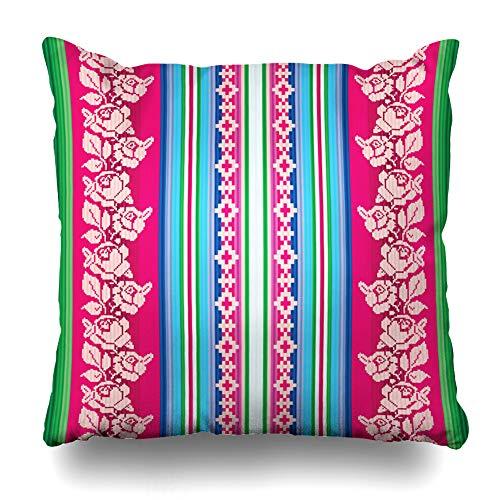Ahawoso Throw Pillow Cover Peruvian Ecuador South American Striped Abstract Pattern America Bolivian Inca Indian Design Home Decor Pillow Case Square Size 16 x 16 Inches Zippered Pillowcase