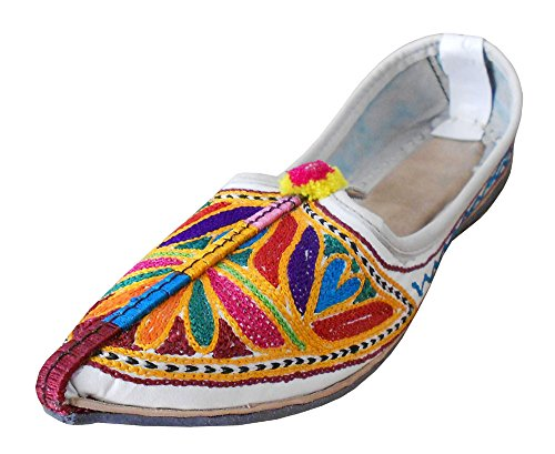 Kalra Creations Women's Traditional Indian With Mojari Leather With Indian Embroidery Loafer Flats B00ZLKAU9U Shoes 71921b