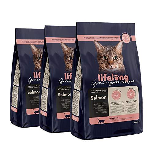 Marca Amazon Lifelong Alimento seco para gatos adultos con salmón fresco, receta sin cereales – 3kg *3
