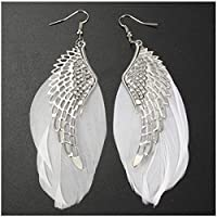 Sumanee Fashion Women Angel Wing Feather Dangle Long Earring Chandelier Drop Earrings