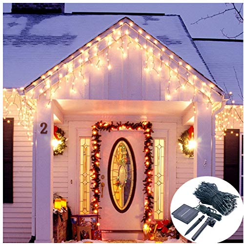 (Solar Operated Icicle Curtain Lights,19.7ft Long 300 LED Twinkle Snowing Lights for Christmas Tree Holiday Eaves Escalator Balcony Corridor Decoration-8 Mode,Dark Green Cable,Waterproof-Warm White)