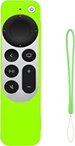 Remote Case Replacement for Apple TV 2021 6th Gen, Silicone Cover Glow in The Dark (Lime Green) Sleeve with Lanyard (Protect, Anti-Slip, Anti-Drop)