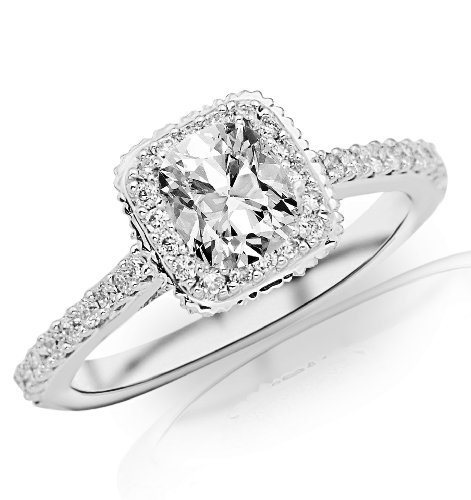GIA Certified 0.94 Carat Cushion Cut/Shape 14K White Gold Vintage Halo with Milgrain Engagement Ring 4 Prong with a 0.59 Carat, H Color, VS1 Clarity Center Stone