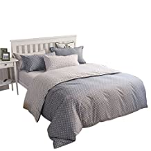 YOUSA Polka Dot Bedding Grey Bedding 4 Pieces Microfiber Duvet Cover Set,Full