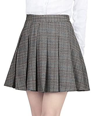 chouyatou Women's High Waist Plaid A-Line Pleated Short Skirts