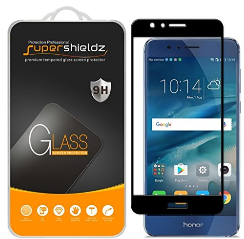 [2-Pack] Supershieldz for Huawei (Honor 8) Tempered Glass Screen Protector, [Full Screen Coverage] Anti-Scratch, Bubble Free, Lifetime Replacement (Black)