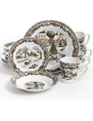 gibson home christmas toile 16 piece dinnerware set multicolor