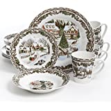 gibson home christmas toile 16 piece dinnerware set multicolor - Christmas China Sets