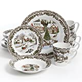 Gibson Home Christmas Toile 16 Piece Dinnerware Set, Multicolor