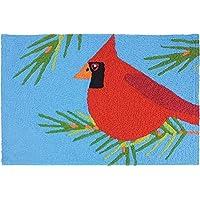 Jellybean Christmas Cardinal Perched In Pines 21x33 Indoor/Outdoor Doormat Rug