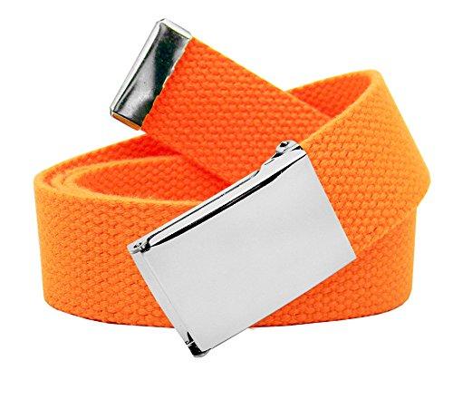 Classic Silver Women's Flip Top Military Belt Buckle with Canvas Web Belt Large Neon Orange (Canvas Classic Belt)