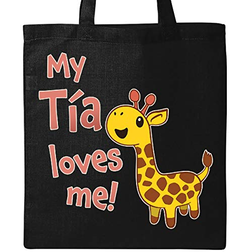 Inktastic - My Tía Loves me- cute giraffe Tote Bag Black -