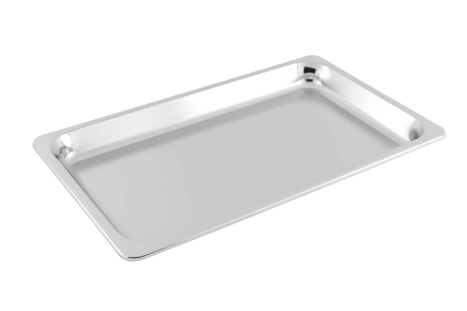 Bon Chef 5098SS Stainless Steel Full Size Shallow Rectangle Food Pan, 5 quart Capacity, 21'' Length x 13'' Width x 1-1/2'' Height