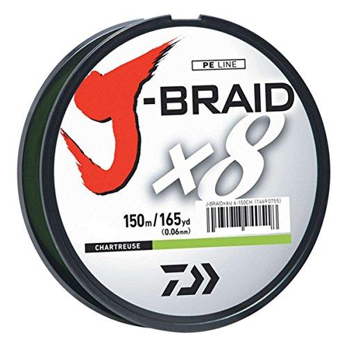 Daiwa J-Braid 150M 8-Strand Woven Round Braid Line, Chartreuse, 8 lb