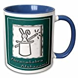 3dRose Beverly Turner Design - Abracadabra Alakazam Rabbit in a Hat Green - 11oz Two-Tone Blue Mug (mug_18772_6)