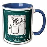 Beverly Turner Design - Abracadabra Alakazam Rabbit in a Hat Green - 11oz Two-Tone Blue Mug (mug_18772_6)