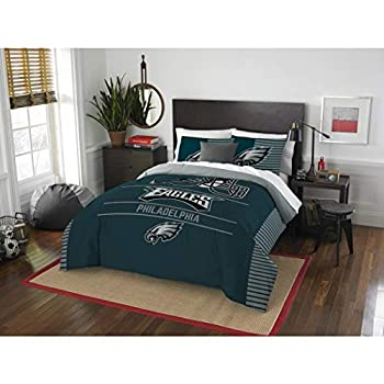 Image of 3 Piece NFL Philadelphia Eagle Comforter Full Queen Set, Sports Patterned Bedding, Featuring Team Logo, Fan Merchandise, Team Spirit, Football Themed, National Football League, Blue White,For Unisex Home and Kitchen