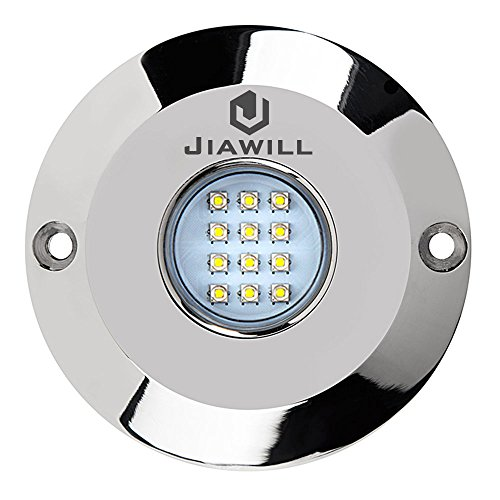Jiawill 60W CREE LED Surface Mount Underwater Boat Lights 316L Stainless Steel with Internal Driver and Overheat Protection (Blue) (Driver Boat)