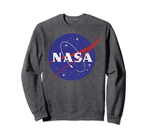 Unisex NASA Classic Blue Logo Distressed Vintage Graphic Sweatshirt Small Dark Heather