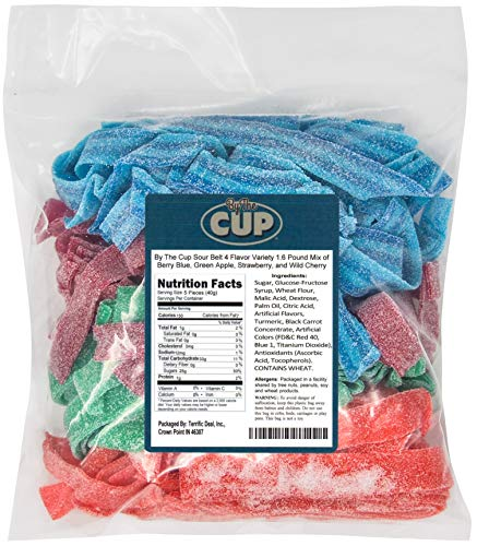 By The Cup Sour Belt 4 Flavor Variety 1.6 Pound Mix of Berry Blue, Green Apple, Strawberry, and Wild Cherry