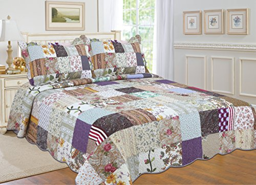 UPC 845347512904, All for You 3-piece 100% COTTON Reversible Bedspread/ Coverlet / Quilt Set- OverSize( to the floor) -Real patchwork (king, Cal King)