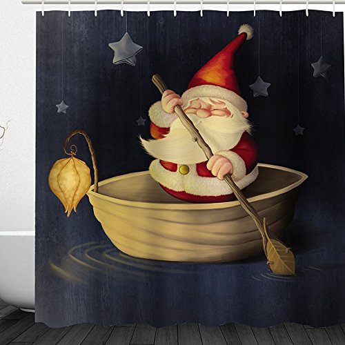 Alicemall 3D Santa Claus Shower Curtain Set Cute Christmas Father Boating in the Dark with Dangling Stars Bathroom Curtain Set, Decorative Curtain, 71 x 71 inches (71