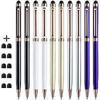 Stylus, ChaoQ (Todo el material metálico) Paquete de 10 Clip de oro rosa, 2 en 1 Lápiz Stylus delgado y bolígrafo para dispositivos de pantalla táctil universal con 10 puntas de goma reemplazables adicionales