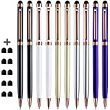 Stylus - ChaoQ (All Metal Material) 10 Pack Rose Gold Clip 2 in 1 Slim Stylus Pen and Ballpoint Pen for Universal Touch Screen Devices with 10 Extras Replaceable Rubber Tips