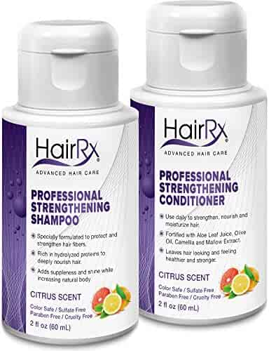 HairRx Professional Strengthening Shampoo & Conditioner Travel Set, Luxurious Lather, Citrus Scent, 2 Ounce Bottles