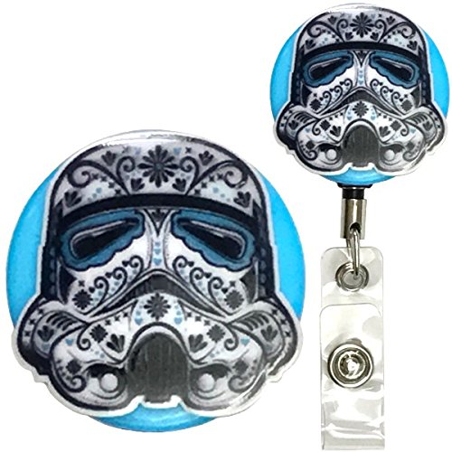 Candy Skull Star Wars Inspired Symbol Real Charming Premium Decorative ID Badge Holder (Stormtrooper Belt Clip HD) by Real Charming