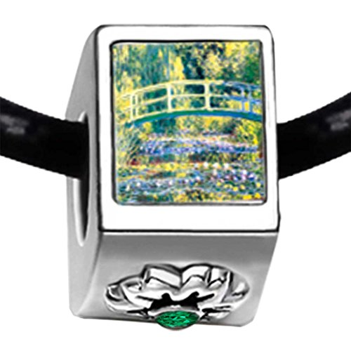 GiftJewelryShop Silver Plated Bridge at Giverny Emerald Green Crystal May Birthstone Flower Bead Charm Bracelets