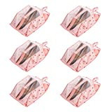 Exttlliy 6pcs Waterproof Dustproof Oxford Cloth Shoe Bags with Zipper Closure and Transparent PVC Windows for Travel Home Use (Pink Cherry)