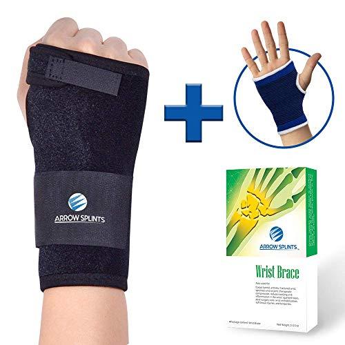 - Arrow Splints Wrist Brace for Carpal Tunnel Syndrome, Arthritis, Tendonitis, Ganglion Cyst, Typing Pain Relief & Sport Wrist Injuries - Right Hand Wrist Splint Fits Men & Women + Wrist Sleeve Support
