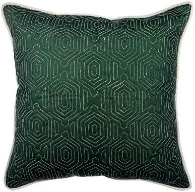 Diseñador Verde Cojin, 65 x 65 cm Cuero y Ante Cojin Jardin, Funda de Cojín con Enrejado, Geométrico Cojin Jardin, Moderno Cojin - Lost Emerald: Amazon.es: Hogar