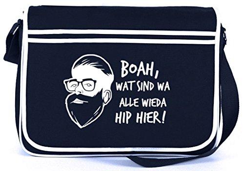 Boah, wat sind wa alle wieda hip hier! Retro Messenger Bag Kuriertasche Umhängetasche Navy