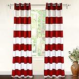 "DriftAway Mia Stripe Room Darkening Grommet Unlined Window Curtains, Set of Two Panels, Each 52""x84 (Red)"