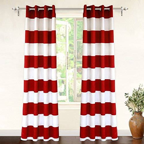 "DriftAway Mia Stripe Room Darkening Grommet Unlined Window Curtains, Set of Two Panels, Each 52""x84 (Red) - Americana Decor"