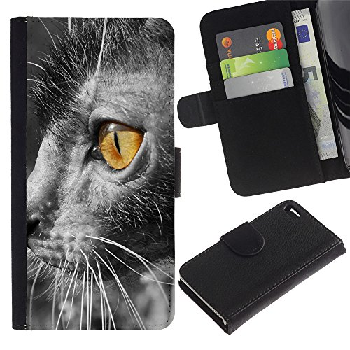 OMEGA Case / Apple Iphone 4 / 4S / lykoi bright yellow eye grey furry / Cuir PU Portefeuille Coverture Shell Armure Coque Coq Cas Etui Housse Case Cover Wallet Credit Card
