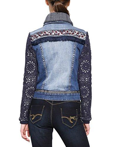 De denim Chaqueta Para Mezclilla Chaq Mujer Desigual exotic Crochet Wash Medium 5053 Azul gZqzIwR