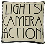 LIGHTS CAMERA ACTION FILM REEL MOVIE BLACK COTTON BLEND CUSHION COVER PILLOW CASE SHAM 18