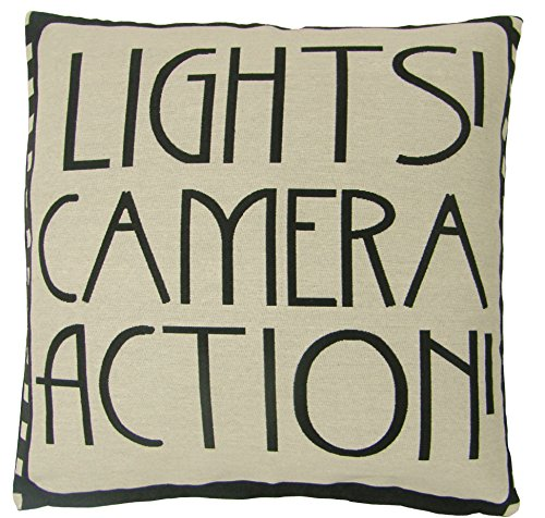 "Lights Camera Action Film Reel Movie Black Cotton Blend Cushion Cover Pillow CASE SHAM 18"" - 45CM"