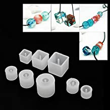 Colybecation 10pcs Silicone DIY Bead Mold Round Square Shape Jewellery Making Hand Craft Tool