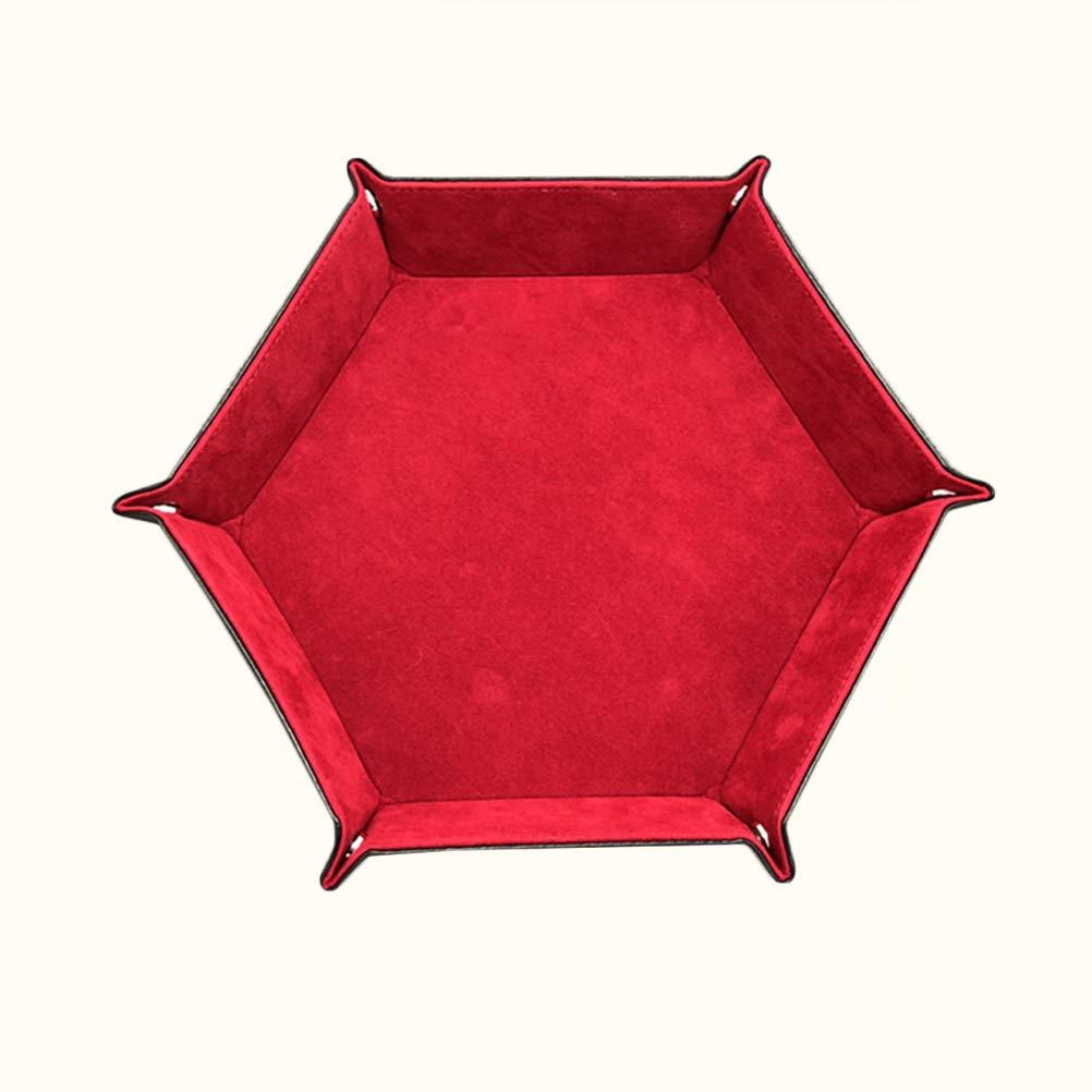 Rouge TOPBATHY Plateau /à d/és Pliable Hexagonal pour Jeux de soci/ét/é DND RPG et Autres Jeux de Table