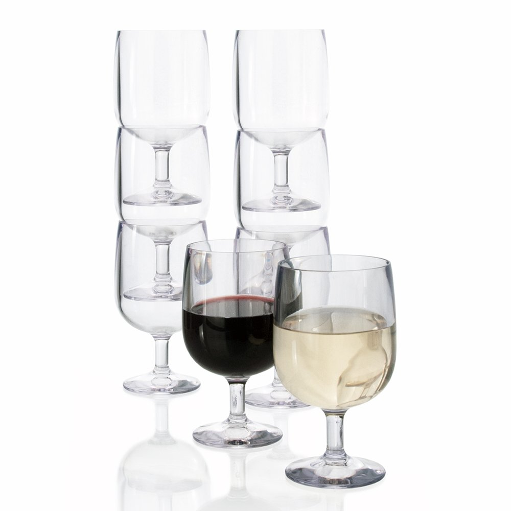 Stackable Premium Quality Plastic 8oz Wine Glass - Set of 8 by US Acrylic (Image #1)