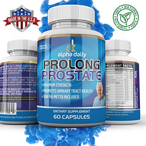 - Alpha Daily Prolong Prostate Health Supplement - Promotes Urinary Tract Health, Minimizes Frequent Urination, Decreases Hair Loss w/Saw Palmetto, Nettle, Green Tea | 60 Count